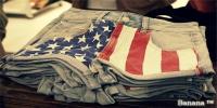 американский, американский флаг, одежда, джинсовые шорты, флаг.